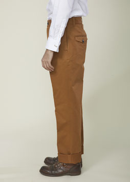 NICOLAS MP004 / Chino Tapered / Cinched Back / Tobacco Brown