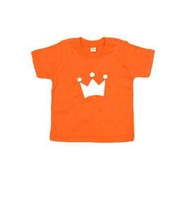 Koningsdag baby T-shirt met icoon 'kroon'