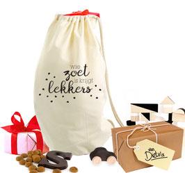Sinterklaas Cadeauzak 'Wie zoet is...'