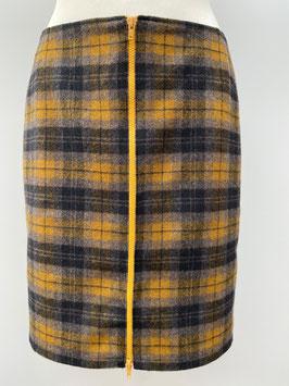 Damen Rock mit gelb- schwarzem Karomuster und gelben Reißverschluss im Vorderteil