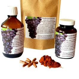 Traubenkernextrakt 65 % reines OPC 260 mg +  natürliches Vitamin C aus Bio Camu Camu Pulver.  Kapseln in Arzneibuch Qualität