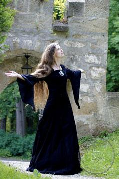 Mittelalterkleid aus Samt in schwarz