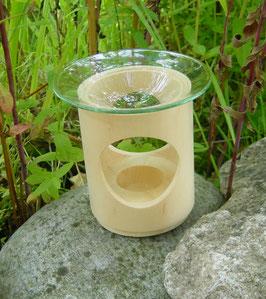 Duftlampe aus Zirbelkiefer + Glaseinsatz