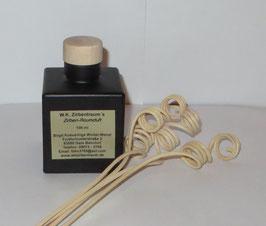 Raumduft in einer schwarz mattierten 100 ml Glasflasche mit Holzgriffkorken + 4 Stück Rattanstäbchen