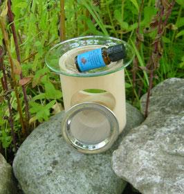 Kombination Duft- und Räucherlampe aus Zirbelkiefer (inkl. Edelstahlsieb und Glaseinsatz) + 10 ml reines Zirbenöl