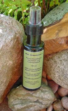 Hochwertiger Zirben-/Lemongrasspray  in einer 100 ml Glasflasche mit Zerstäuber und Verschlusskappe