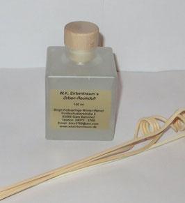 Raumduft in einer weiß mattierten 100 ml Glasflasche mit Holzgriffkorken + 4 Stück Rattanstäbchen