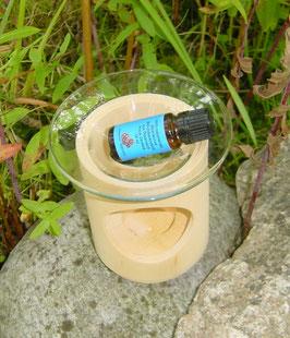 Duftlampe aus Zirbelkiefer inkl. Glaseinsatz + 10 ml reines Zirbenöl