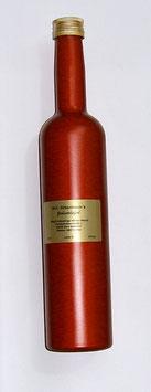Zirbenlikör 500 ml in einer hochwertigen, roten metallic-beschichteten Flasche