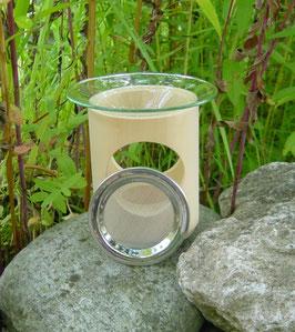 Kombination Duft- und Räucherlampe aus Zirbelkiefer (inkl. Glaseinsatz und Edelstahlsieb)