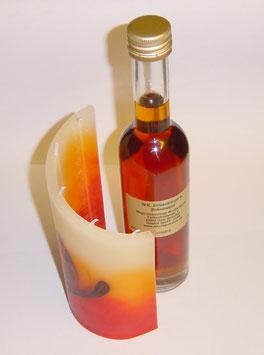 1 x 200 ml Zirbenlikör + 1 Stück Zylinder Kerze klein rot/orange/braun/creme