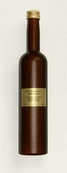 Zirbenlikör 500 ml in einer hochwertigen braunen metallic-beschichteten Flasche