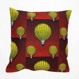 Cushion ballon ride, red back cover 40x40 - Kissen Ballonfahrt, rote Rückseite 40x40