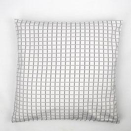Cushion white black patterned 50x50 - Kissen weiß schwarz gemustert 50x50