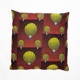 Cushion ballon ride, red back cover 50x50 - Kissen Ballonfahrt, rote Rückseite 50x50