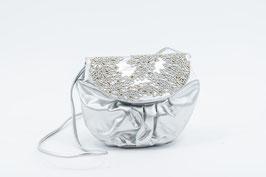 Bag silver brocaded I Tasche silber mit Verzierung