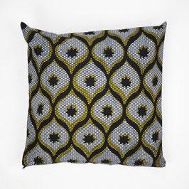 Cushion yellow black patterned 40x40 - Kissen gelb schwarz gemustert 40x40
