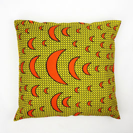 Cushion orange crescent, yellow back cover 50x50 - Kissen orange Halbmonde, gelbe Rückseite 50x50