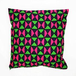 Cushion pink green patterned 40x40 - Kissen pink grün gemustert 40x40