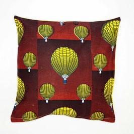 Cushion ballon ride, yellow back cover 40x40 - Kissen Ballonfahrt, gelbe Rückseite 40x40