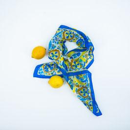 Foulard blue and yellow ornaments / Tuch - blau, gelbe Ornamente