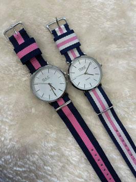 Reloj rayas rosa
