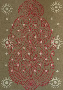 Postkarten handbedruckt mit indischen Holzstempel 4
