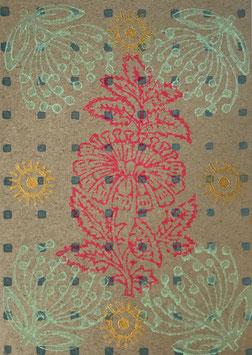 Postkarten handbedruckt mit indischen Holzstempel 34.1