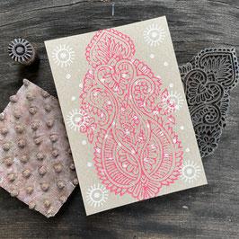 Postkarten handbedruckt mit indischen Holzstempel 7