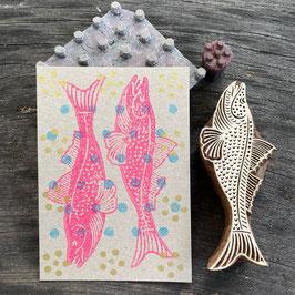 Postkarten handbedruckt mit indischen Holzstempel 12
