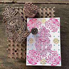 Postkarten handbedruckt mit indischen Holzstempel 24