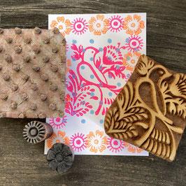 Postkarten handbedruckt mit indischen Holzstempel 28