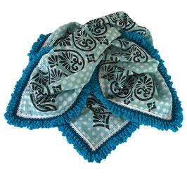 Halstuch Blockprint heart blue handumhäkelt 2