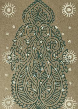 Postkarten handbedruckt mit indischen Holzstempel 5.1