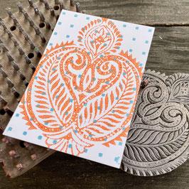 Postkarten handbedruckt mit indischen Holzstempel 9