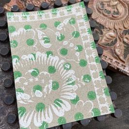 Postkarten handbedruckt auf  Graspapier mit indischen Holzstempel 34