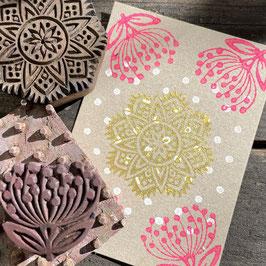 Postkarten handbedruckt mit indischen Holzstempel 16