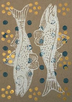Postkarten handbedruckt mit indischen Holzstempel 13