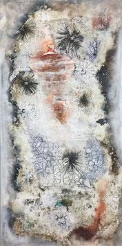 mixedmedia auf canvas mit marmormehl und vielen anderen baumaterialien
