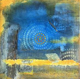 """mixedmedia auf canvas """"blau gelb"""""""