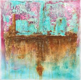 mixedmedia collage auf canvas mit rost und patina