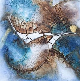 mixedmedia auf canvas blau und beige