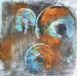 mixedmedia auf canvas mit rost und patina