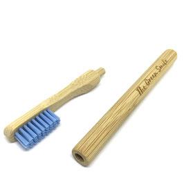 Brosse à dent bambou rechargeable souple bleue