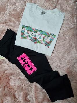 Completo tshirt fenicotteri + leggings logo fluo