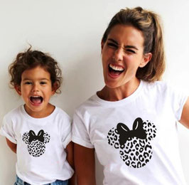 Tshirt minnie leopardata bianco e nero