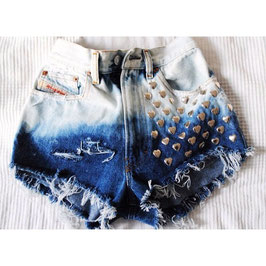 Denim Shorts Studded Heart