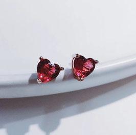 Orecchini con cuore rosso