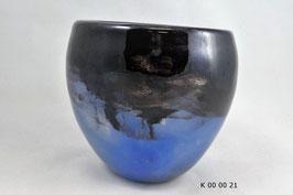 mundgeblasene Vase schwarzblau irisierend