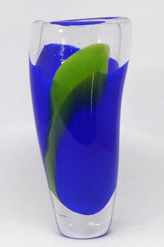 mundgeblasene Vase blaugrün mit dickem Boden